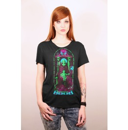 Church Windows Vitral With Neon Fluo Saint Mary And Jesus Black T Shirt