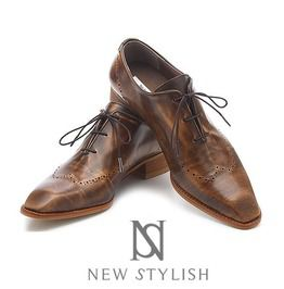 Natural Aged Leather Straight Tip Brown Lace Up Shoes 180