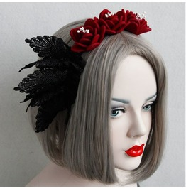 Gothic Punk Artificial Red Flower Black Lace Headband