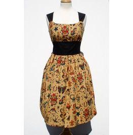 """Riding Shotgun"" Tattoo Art Beige Dress"