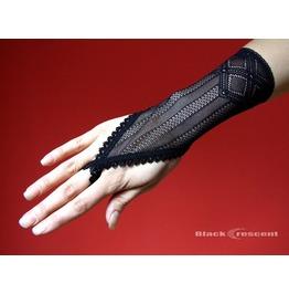 Elegant Pair Black Lace Gloves, Finger Loop, Fingerless, Gothic, Burlesque