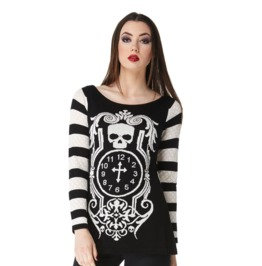 Jawbreaker Clothing Death Clock Longline Monochrome Jumper