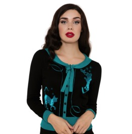 Voodoo Vixen Elise Pussycat Embroidered Button Down Blue Cardigan