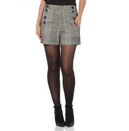Voodoo Vixen Georgie Flocked Houndstooth High Waisted Shorts
