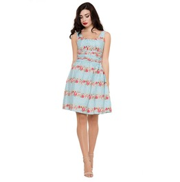 Voodoo Vixen Angie Roses Vintage Inspired Blue Dress