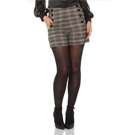 Voodoo Vixen Whitney High Waisted Plaid Shorts