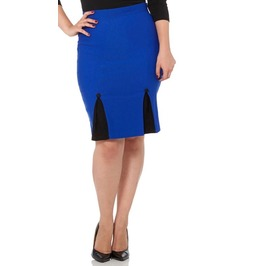 Voodoo Vixen Annaliese Vibrant Blue Above The Knee Pencil Skirt