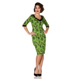 Voodoo Vixen Jade Kat Green Exclusive Print Wiggle Dress