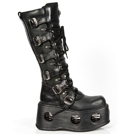 272 S2 New Rock Black Leather Unisex Goth Platform Spring Boots $26 To Ship