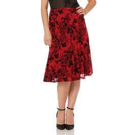 Voodoo Vixen Chloe Fully Lined Panel Cut Red Skirt