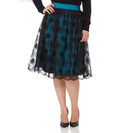 Voodoo Vixen Shannon Scalloped Lace Teal Skirt