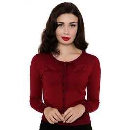 Voodoo Vixen Emily Peacock Feather Embroidered Red Cardigan