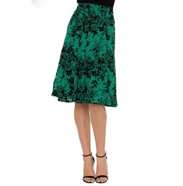 Voodoo Vixen Chloe Fully Lined Panel Cut Over The Knee Green Skirt