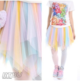 Kawaii Pastel Decora Tinkerbell Fairy Broom Soft Tulle Cosplay Show Skirt
