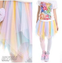 Kawaii Pastel Decora Tinkerbell Fairy Broom Soft Tulle Cosplay Show Skirt