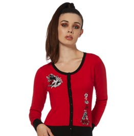 Jawbreaker Clothing Mockingjay Skull And Roses Red Cardigan