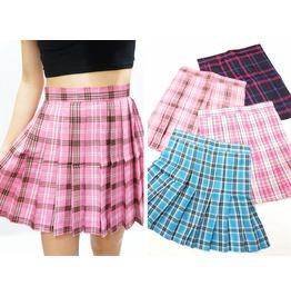 Silver Thread Pink Plaid Pleated Skirt ( Xs Xxl )