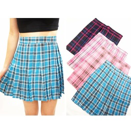 Blue Plaid Pleated Skirt ( Xs To Xxl )
