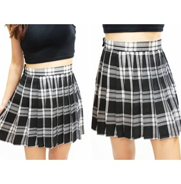 Black Plaid Pleated Skirt ( Xs To Xxl )