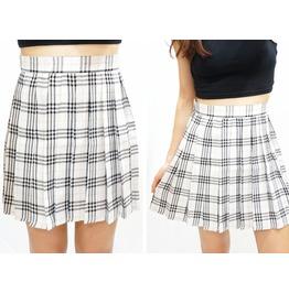 White Plaid Pleated Skirt ( Xs To Xxl )