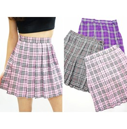 Pastel Pink Plaid Pleated Skirt ( Xs To Xxl )