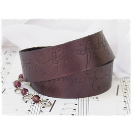 Plum Leather Wrap Bracelet, Elvish Script Cuff, Elven Larp Bracelet