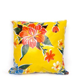 Oil Cloth Yellow And Blue Pillow Cover