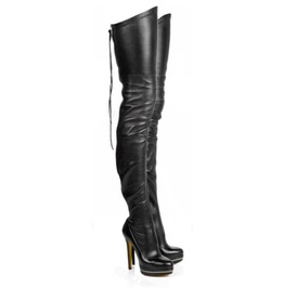 Black Leather Stiletto Heels Thigh High Women's Boots 10581622 Eed