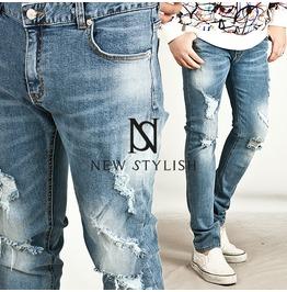 Vintage Disressed Light Blue Denim Slim Jeans 195