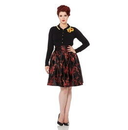 Voodoo Vixen Cara Red Rose Embroidered Oriental Skirt