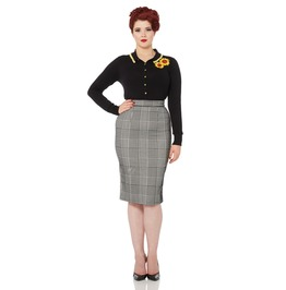 Voodoo Vixen Lily Rose Flocked Houndstooth Pencil Skirt