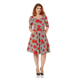 Voodoo Vixen Suzanne Belted Poppy Skater Dress