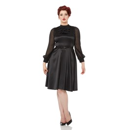 Voodoo Vixen Audrey Sophisticated Black Belted Dress