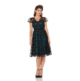 Voodoo Vixen May Lacy Teal Party Dress