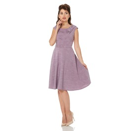 Voodoo Vixen Paige Purple Belted Classic Skater Dress