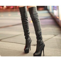 Women's Black/White/Brown Thin High Heeled Knee Boots
