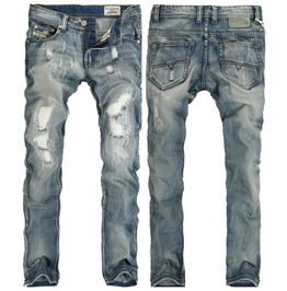Men's Fading Ripped Slim Straight Jeans