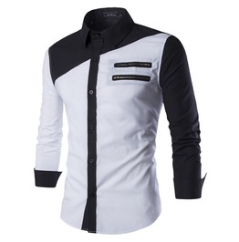 Men's Casual Double Zipper Long Sleeved Shirt