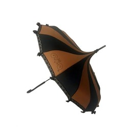 Hilary's Vanity Brown & Black Pagoda Shaped Steam Punk Umbrella