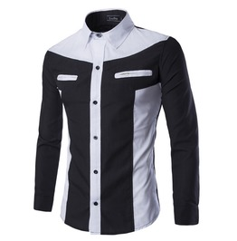 Men's Contrast Color Casual Zippered Pocket Shirt