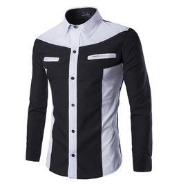 Men's Contrast Color Casual Zippered Pocket Shirt