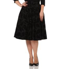 Voodoo Vixen Andrea Flocked Feather Grey Pleated Skirt