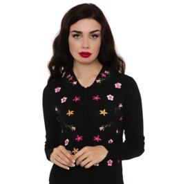 Voodoo Vixen Flower Power Vintage Inspired Black Cardigan
