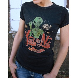 Not Alone, By 5area1, Women's Junior Fit T Shirt, Custom Dyed, Mineral Wash