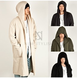 Big Hood Accent Knit Long Cardigan 70