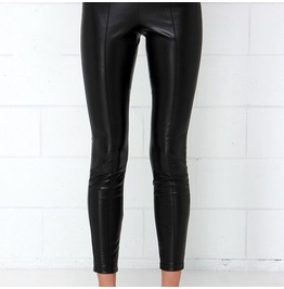 Fashion Black Faux Leather Pants