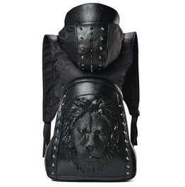 211a01d404 Steampunk Embossed Lion Head Metal Rivets Studded Hooded Backpack