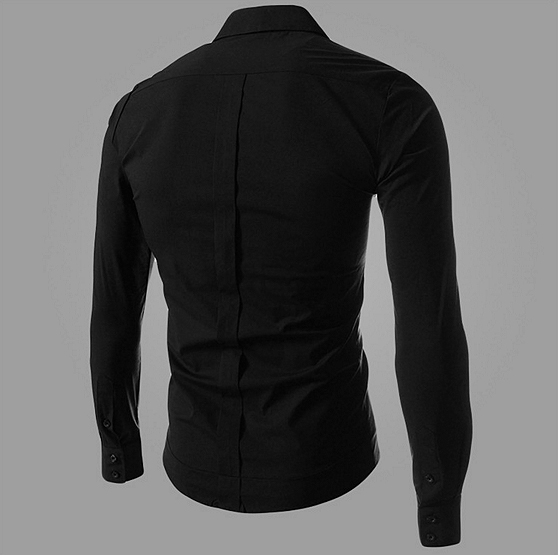 Men Shirt Black / White / Blue Color Long Sleeve Shirt Men's