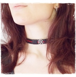 Pentacle Leather Choker, Gothic Black Choker, Goth Lolita Collar
