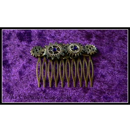 Silver, Bronze And Gold Mottled Tone Steampunk Inspired Hair Clip